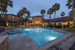 Three Bedroom Apartments for Rent in Northwest Houston, TX -Evening View of Clubhouse & Pool Area (2)